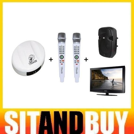 Locação Videokê Karaokê C/ 2 Microfones + Pedestal + Caixa De Som + Tv