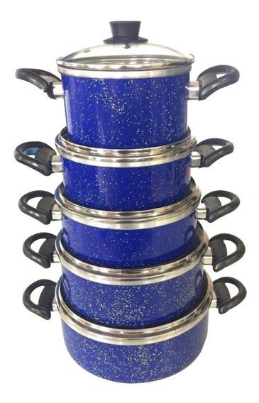 Conjunto Panelas Azul Portela Com 5 Pçs