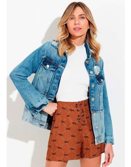Jaqueta Jeans Feminina Com Mix De Jeans Hering