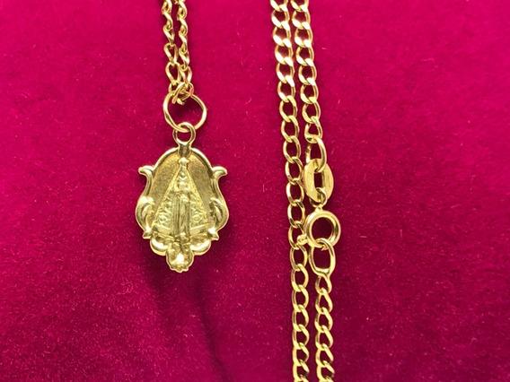 Corrente Ouro 18k Groumet Pingente Nossa Senhora Aparecida