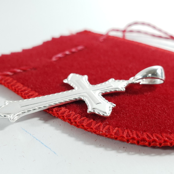 Pingente De Prata Modelo Cruz Médio Prata 925