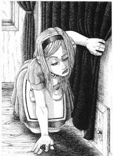 Dibujo A Tinta De Alicia En El País De Las Maravillas