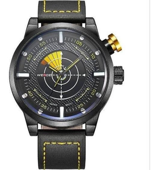 Relógio Weide Analógico 5201 Preto E Amarelo 100% Original