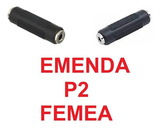 2 Emenda Adpatador Plug P2 Femea Audio Stereo Auxilia Radio