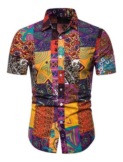 Camisa Hombre Manga Corta Estampado Tribal Informal