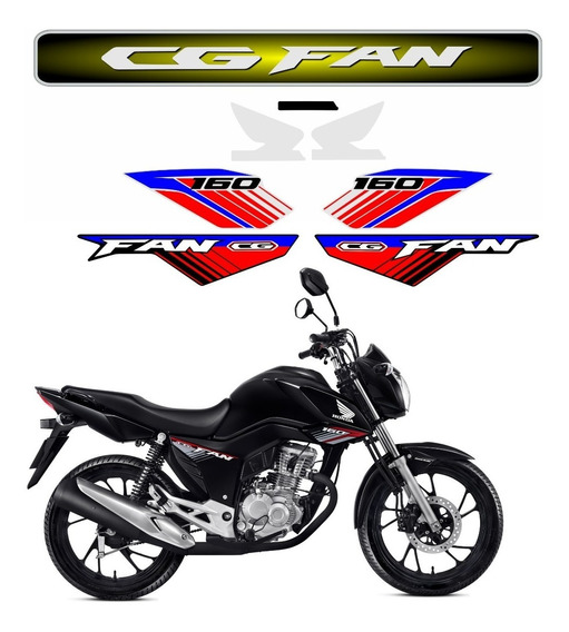 Adesivo Faixas Emblema Cg Fan 160 2018 2019 Personalizado