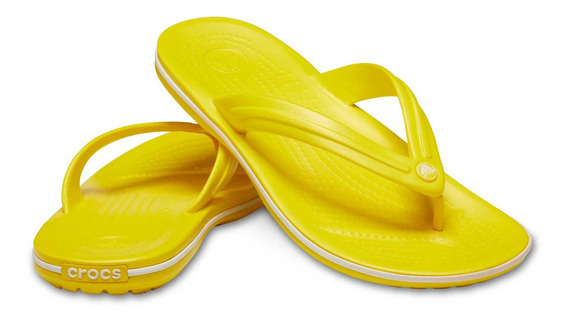 Sandalia Crocs Dama Crocband Flip Amarillo/blanco