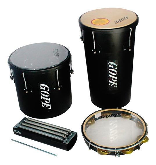 Kit Percussão Gope Rebolo 10pol, Repique 10pol, Pandeiro 11pol E Reco Reco 4 Molas Preto Black