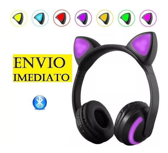 Fone Bluetooth Orelha De Gato Gatinho Hf-c240b C/ Led P2