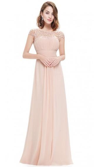 Vestido De Noche Largo De Encaje Color Sólido S-2xl
