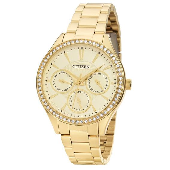 Relógio Citizen Feminino Dourado Médio Brilho Tz28404g