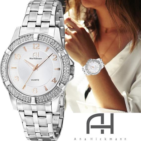 Relógio Feminino Ana Hickmann Prateado Grande Todo Em Aço Com Strass Ah28660q