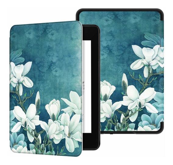 Capa Novo Kindle 10 Geração Hibernação Magnético Flores 2