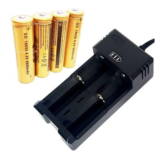 Kit Carregador + 4 Baterias Li-ion 18650 4,2v Lanterna Led