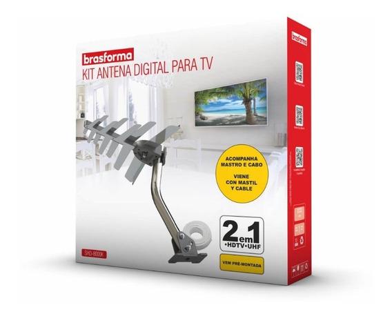Antena Digital Externa + Cabo + Mastro De Fixação Shd 8000k