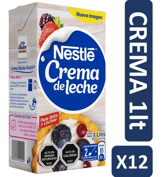 Crema De Leche Nestlé 1 Litro Pack X12