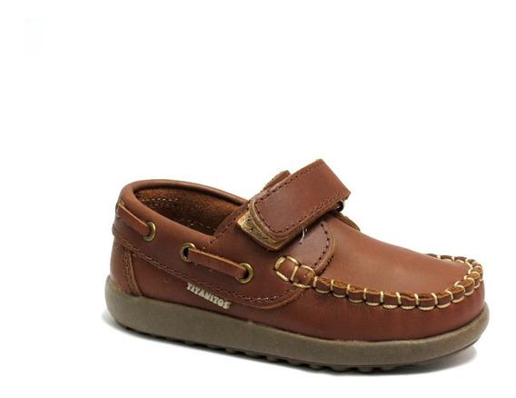 Zapatos Nauticos Niños Cuero Abrojo Titanitos 21 Al 26 1604