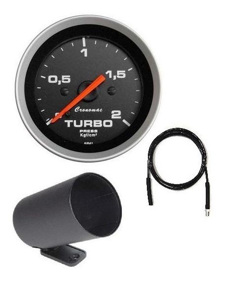 Manômetro Cronomac Turbo 2kg Sport + Kit Instalação + Copo