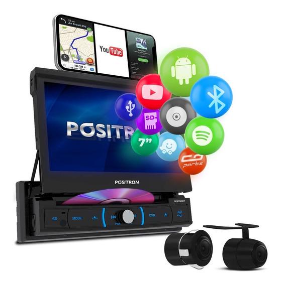 Dvd Player Pósitron Sp6330bt 7 Polegadas Retrátil Bluetooth Espelhamento Usb Aux Sd Fm + Câmera De Ré 2 Em 1 Universal