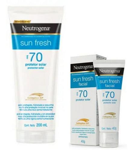 Kit Protetor Solar Sun Fresh Neutrogena Fps70 200ml + Facial