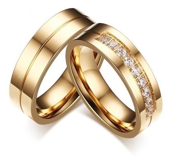 Par Aliança 6mm Banhado Ouro Casamento Noivado Compromisso