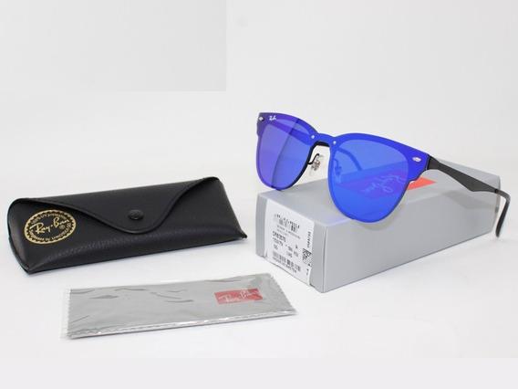 Ray-ban Blaze Clubmaster Rb3576 Oculos De Sol Azul