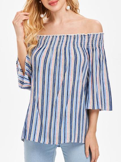 Mujer Apagado Hombro Raya Superior T -camisa