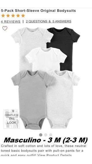 Carters Conj. Bodies Kit 5 Body Bebês 3m Manga Curta Menino