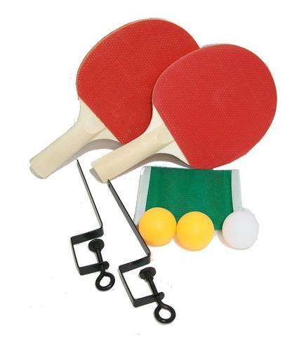 Imagen 1 de 5 de Set Ping Pong  2 Paletas + 3 Pelotitas + Red + Soporte Wel