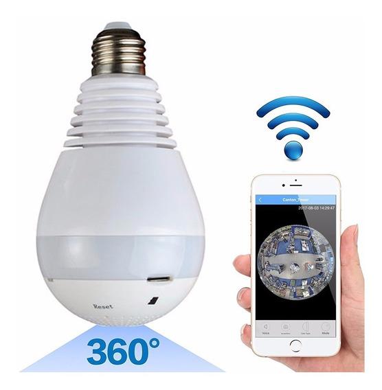 Lampara Wifi Led Ip Camara Hd 360° Ojo Pez Espia Graba 128gb