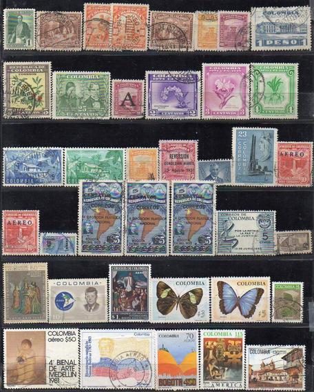 Colombia 1932/1990. Pequeño Lote Con 39 Sellos Usados