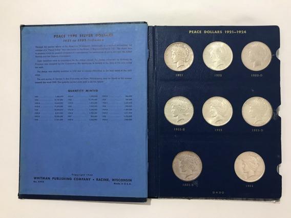 Moeda Peace Dollar Set Completo Em Álbum 1921-1935 Prata