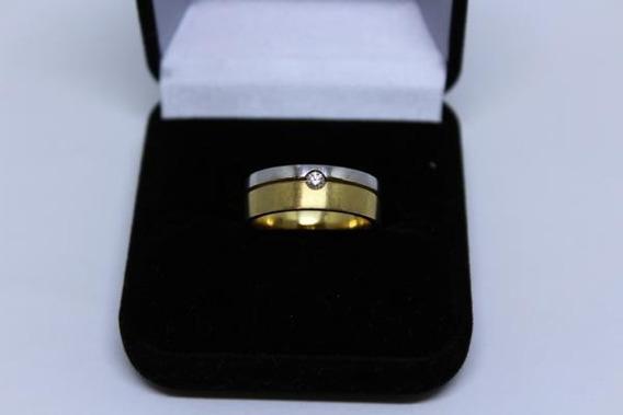 Anel Ouro Branco / Amarelo 18 K Um Diamante Aro 19 Peso 8,8g