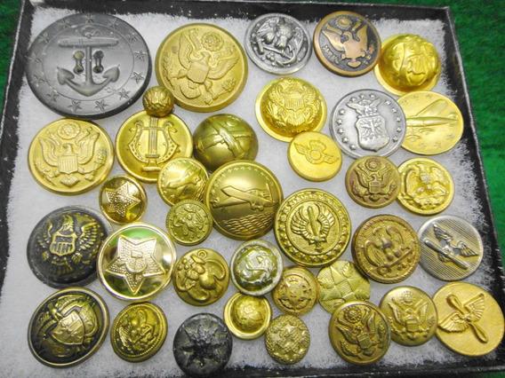 Coleção De Botões Militar Antigos