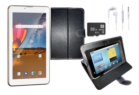 Tablet 2 Chips Dourado 16gb Dual Chip Capa Fone Cartão 32gb