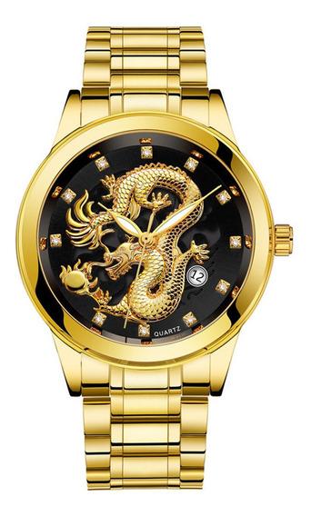 Relógio Masculino Dragão Dourado Em Aço Inox Prova D