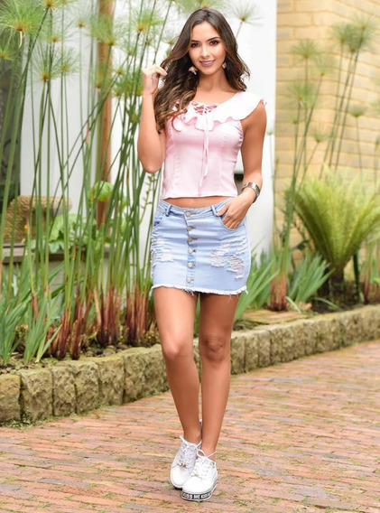 Falda Corta Jean Outfit 957 Para Mujer Azul
