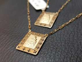 Escapulário Masculino Em Ouro 18k Dupla Face Medalha Grande