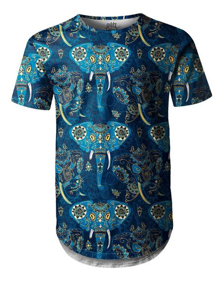 Camiseta Masculina Longline Swag Elefante Indiano