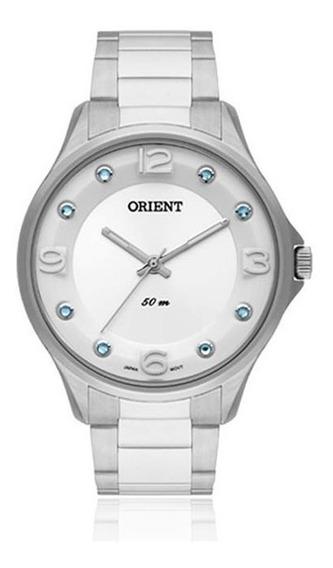 Relógio Orient Feminino Aço Prata Swarovsky Fbss0054 Sasx