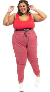Jogger Plus Size Wonder Size Piquet Vermelho