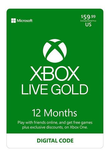 Xbox Live Gold 12 Meses 1 Año  Xbox One/xbox 360(mundial)