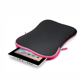 Case Bolsa Pasta Neoprene P/tablet 7 Preto Rosa Mostruario