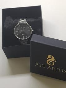 Relógio Atlantis A Prova Dágua Com Fundo Preto