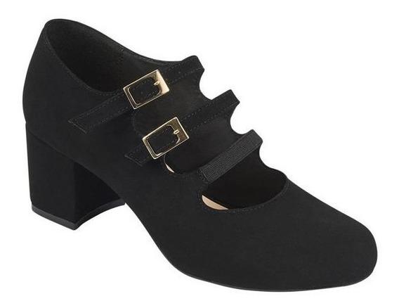 Zapatos De Tacon Para Dama Color Negro Tipo Ante Trr 022201