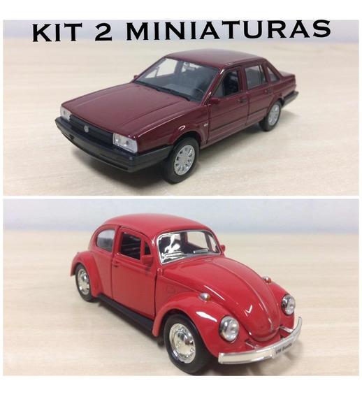 Kit 2 Miniaturas Volkswagen Fusca E Santana Em Metal !