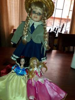 3 Lindas Muñecas De Porcelana Blanca Nieves Princesa Aurora