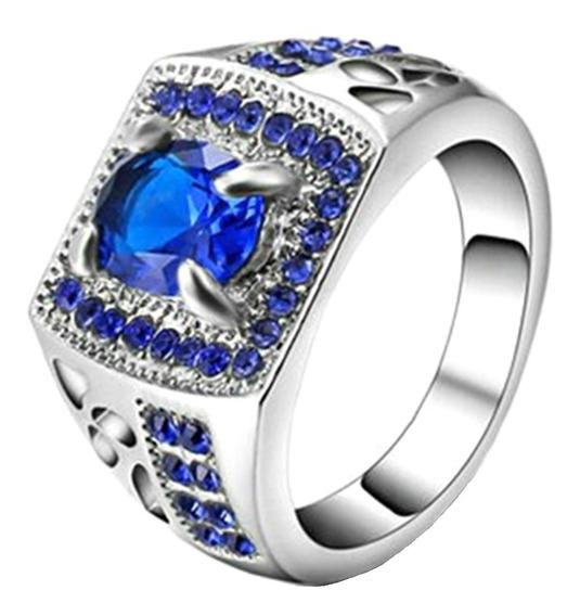 Anel Masculino Feminino Formatura Curso Safira Azul 627