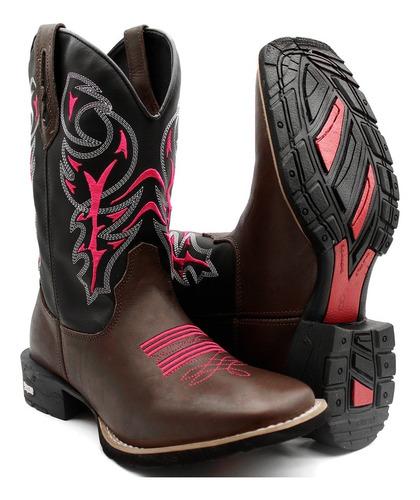 Bota Texana Country Feminina Cowgirl Bico Quadrado Conforto