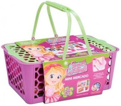 Kit Cestinha Infantil Mini Mercado Meninas Piquenique